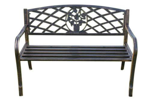 Banco de jardín de metal de Olive Grove con motivo floral de...