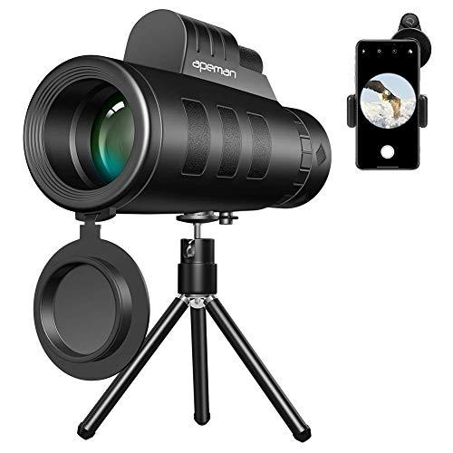 APEMAN 10x50 HD Monokular teleskop mit mobilem Adapter und Stativ, Ideal für Vogelbeobachtung, Wandern, Jagd, Sightseeing, kleines Fernglas mit FMC-Objektiv