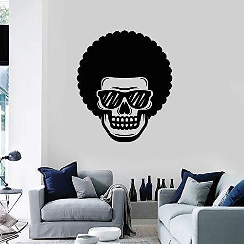 Divertido cráneo calcomanía de pared gafas pelo rizado puertas y ventanas pegatinas de vinilo barbería bar gente cueva decoración de interiores papel tapiz arte