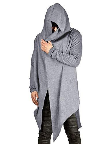 Mens Hooded Cardigans Draped Long Sleeve Hoodie Comfort Draped Cardigan Little Grey XL