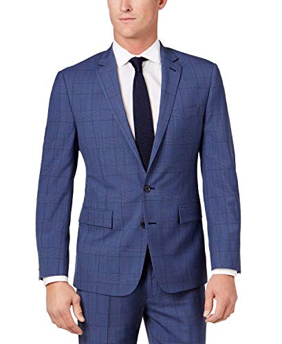 Ryan Seacrest Mens Wool Herringbone Two-Button Suit Jacket Blue 36S