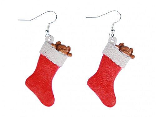 Gioielli fatti a mano di modo placcati argento I Orecchini - Miniblings Calzini di natale calza di Natale Natale calza orecchini di Natale