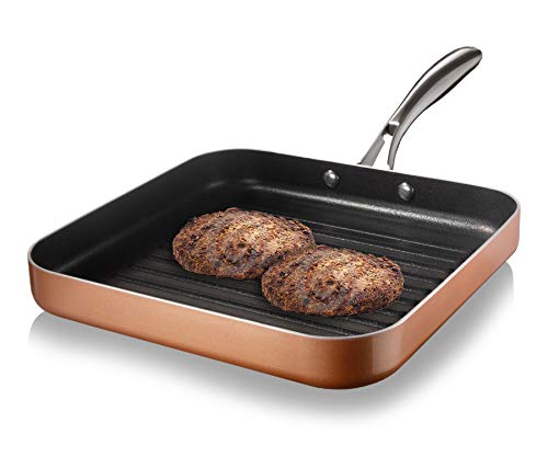 Gotham Steel Nonstick Grill Pan for Stovetops with Grill Sear Ridges, Drains Grease, Ultra Durable Coating, Metal Utensil Safe, Stay Cool Stainless-Steel Handle, Oven & Dishwasher Safe, 100% PFOA Free