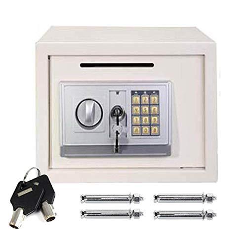 Caja de seguridad electrónica digital grande de 16 litros de volumen para seguridad en el hotel con 4 pernos de bloqueo y 2 llaves montado en la pared o en el suelo, 25 x 35 x 25 cm, color blanco
