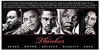 Thinker ( Quintet ) :平和、電源、尊敬、尊厳、愛アートポスター印刷、36x 18