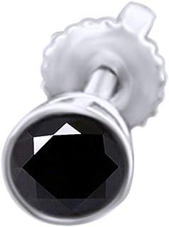 Holiday Sale - Orecchini a perno da uomo con diamante naturale da 0,25 ct, taglio rotondo, in oro bianco massiccio 585 da ...