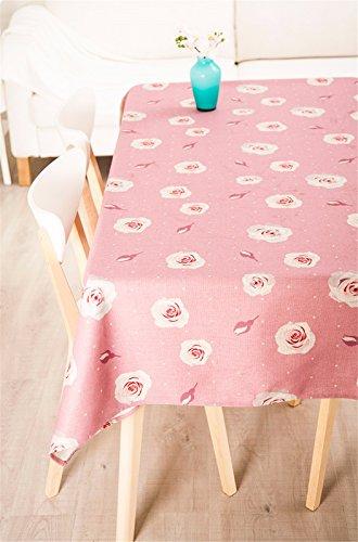 HXC Home Tafelkleed, 110 x 110 cm, roze, rustieke Instagram, katoen, linnen, eettafel, rechthoekig, vierkant, niet strijken, milieuvriendelijk tafelkleed