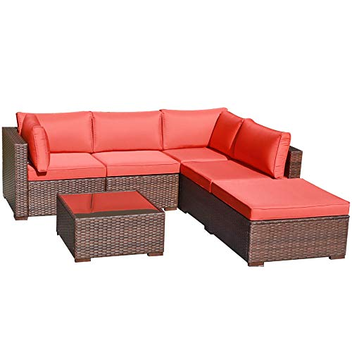 OC Orange-Casul 6-Piece Outdoor Patio Sectional Sofa Set Brown Wicker Furniture Set with Orange Seat Cushions & Tempered Glass Coffee Table
