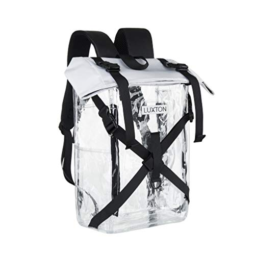 Luxton Home Clear Backpack - Durable School and Stadium Compatible Bag - With 6 Pockets for...