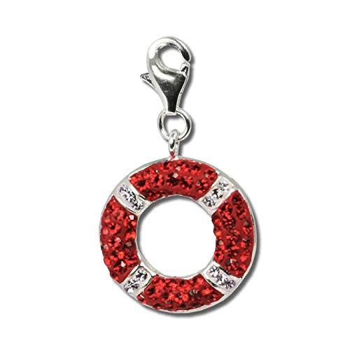 SilberDream rot weiß Anhänger Schwimmring Swarovski Elements Silber Charm D2GSC208 EIN Geschenk zu Weihnachten, Geburtstag, Valentinstag für die Frau, für Jugendliche