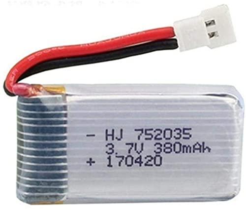 YUNIQUE ITALIA 1 Pezzo Batteria Lipo Ricaricabile 3.7v 380mAh per Hubsan X4 H107c H107d H107L ,Syma X11 X11C, HS170 HS170C F180C HS170G TOZO Q2020 E016H E016F FX801 V911S A120 XK A150 V966 Rc Quadricottero