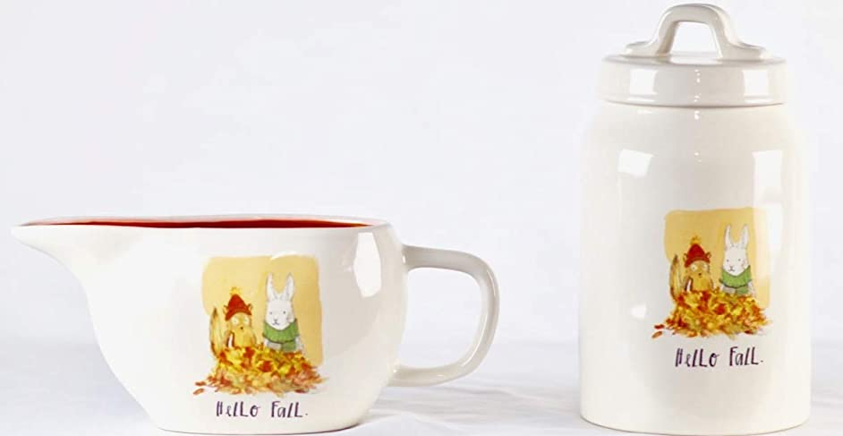 Rae Dunn Hello Fall Gravy Boat and Canister Bundle