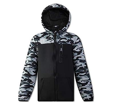SNOW DREAMS Boys Winter Coat Camo Puffer Jacket Lightweight Windbreaker Hooded Camouflage Black Size 4