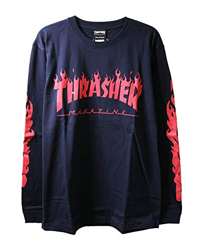 Thrasher スラッシャー ロンT ロングTシャツ 長袖 Flame Of Sleeve L/S T-Shirt Navy×Red ネイビー×赤L ス...
