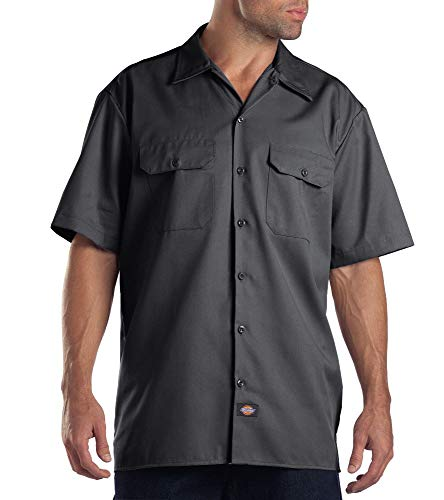 Dickies Men's Big and Tall Short Sleeve Work Shirt, Charcoal, Large