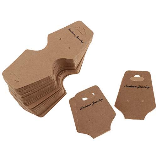 100 Stück Papier Kinder Haarspange Haarnadel Schmuck Display Karte für Halskette, Armbänder, Ohrring - Kraftpapier, 50x125mm