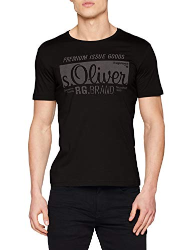 s.Oliver Herren 03.899.32.5206 T-Shirt, Schwarz, Medium