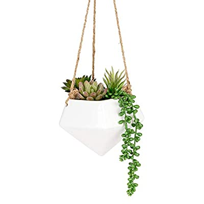 Nattol Geometric Hanging Vase, Wall Hanging Planters for Porch, Ceiling and Wall Decor, Set of 2, White