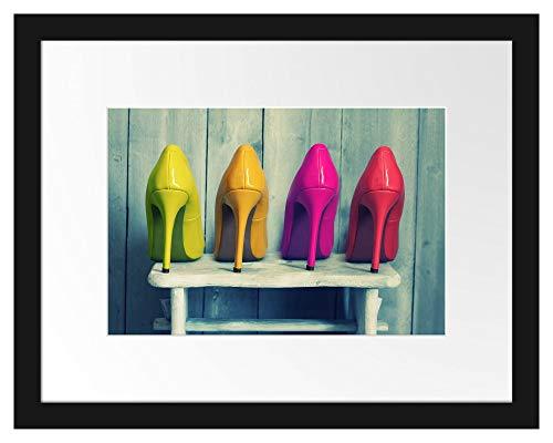 Picati Bunte High Heels Bilderrahmen mit Galerie-Passepartout | Format: 38x30cm | garahmt | hochwertige Leinwandbild Alternative