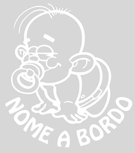 AWS Personalisierter Aufkleber für Jungen an Bordüre Baby on Board Mädchen Tuning Aufkleber Vinyl Kinder Gesicht von frechem Bärchen mit Schnuller Bianco