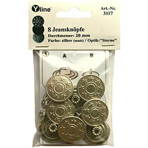 Yline 8 Jeans Knöpfe silberfarben (matt) 20 mm, Jeansknöpfe Metallknopf, Metall Knöpfe, nähfrei, im Polybeutel, sl, 3117