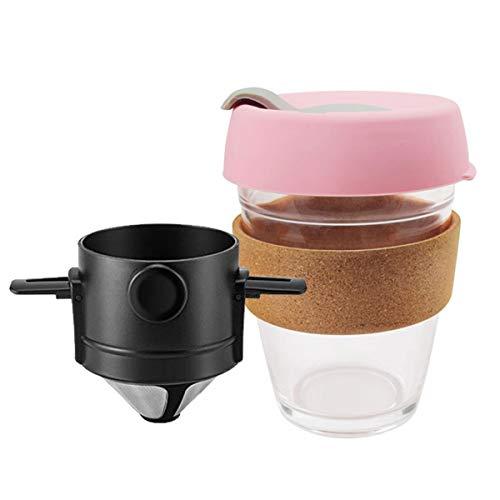 Kaffeefilter tragbar 304 Edelstahl Tropfkaffee Teehalter Trichter Körbe wiederverwendbar rosa Holzmaserung Sets