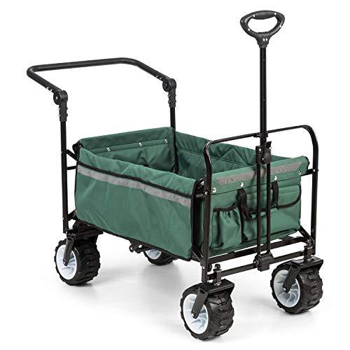 Waldbeck Easy Rider - Bollerwagen, Handwagen, bis 70kg, robuster 600D Polyesterbezug, 2 Sicherheitsgurte für Kinder, Teleskop- / Schubstange, extrabreite Reifen: Edition 2.0, grün