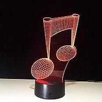 3Dナイトライト7色変更LedライトタッチセンサーUsb 3Dルミナリア音楽ノートナイトランプ楽器ランプホームバーの装飾音楽愛好家のギフト