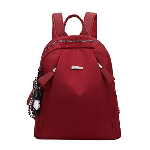Eshow Zainetto da Donna Zaino Borsa a Spalla Casual in Nylon Dayback per Uso Quotidiano Viaggio Scuola Shopping alla Moda Leggero Grande Capacità (Rosso-76)