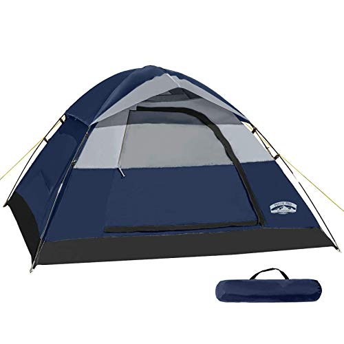 Pacific Pass Camping Tent 2 Person Family Dome Tent with Removable Rain Fly, Easy Set Up for Camp Backpacking Hiking Outdoor, Navy Blue