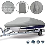 Ogrmar Heavy Duty Trailerable Waterproof Boat Cover with 2 Air Vent Marine Grade Polyester Boat Cover Fits V-Hull,Fishing Boat,Tri-Hull, Bass Boats,Pro-Style Cover (17-19ft, Grey)