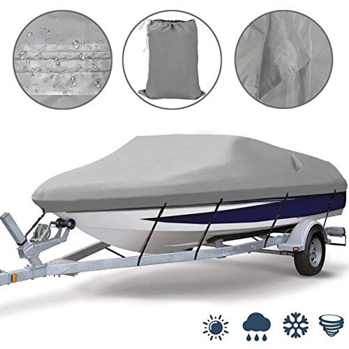 Ogrmar Heavy Duty Trailerable Waterproof Boat Cover with 2 Air Vent Marine Grade Polyester Boat Cover Fits V-Hull,Fishing Boat,Tri-Hull, Bass Boats,Pro-Style Cover (20-22ft, Grey)