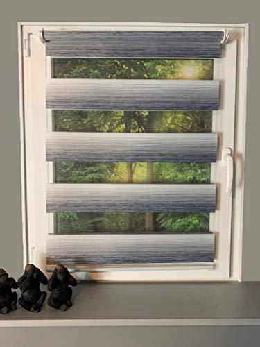 Gardinen Senay Klemmfix Duorollo, Doppelrollo mit Farbverlauf mit verstellbaren Klemmträgern, Breite: 90 cm/Länge: 210 cm, Farbe: weiß/grau