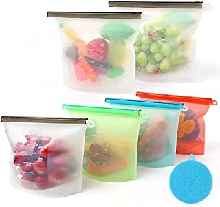 Reusable Silicone Food Storage Bags - Save 520 Baggies and Keep Food Snacks Sous Vide Fresh, Liquids Leak Proof - BPA Free...