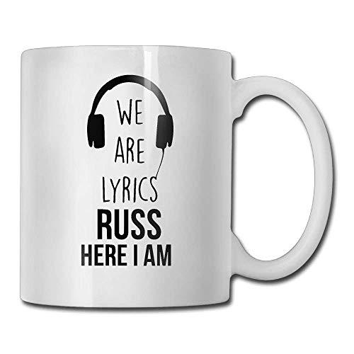 We are Lyrics Russ Here I Am - Taza de café (11 onza), regalo perfecto para familiares y amigos