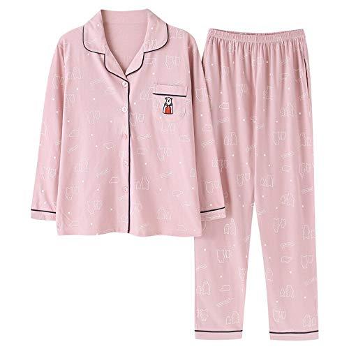 Frauen Pyjama 2 Stück Baumwolle Nachtwäsche Langarm Pyjama Pink Home Wear Freizeit Home Kleidung Sleep Lounge Pyjama XXXL