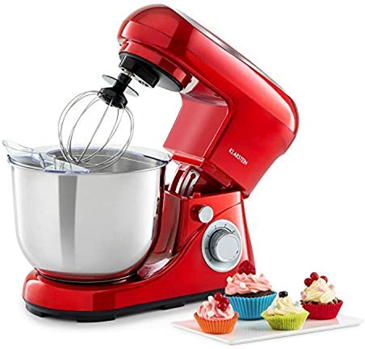 Robot da cucina, mixer, impastatrice, 1200 w / 1,6 ps, 6 livelli, sistema di miscelazione planetario 5l, rosso TK2-90400-ella