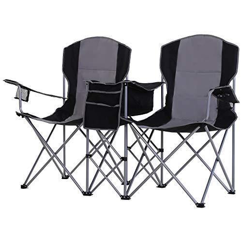 Outsunny Doppel-Campingstuhl mit Getränkehalter und Eisbeutel, Klappstuhl mit Armlehne, Oxford, Metall, Schwarz, 163 x 60 x 102 cm