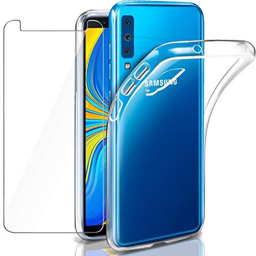 """Leathlux Cover Samsung Galaxy A7 2018 Custodia e Pellicola Protettiva in Vetro Temperato, Morbido Trasparente Silicone Custodie Protettivo TPU Gel Sottile Cover per Galaxy A7 (2018) 6.0"""""""