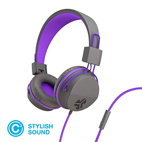 JLab Audio Neon Folding On-Ear Headphones | Wired Headphones | Tangle Free Cord | Noise Isolation | 40mm Neodymium Drivers | C3 Sound (Crystal Clear Clarity) | Graphite / Purple