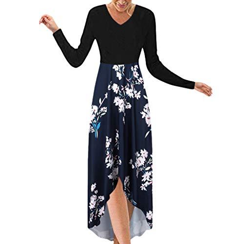 Crylee Damen Long Dress V-Ausschnitt Bohemian Print Kleid Maxi Dresses Summer Casual Beach Solid...