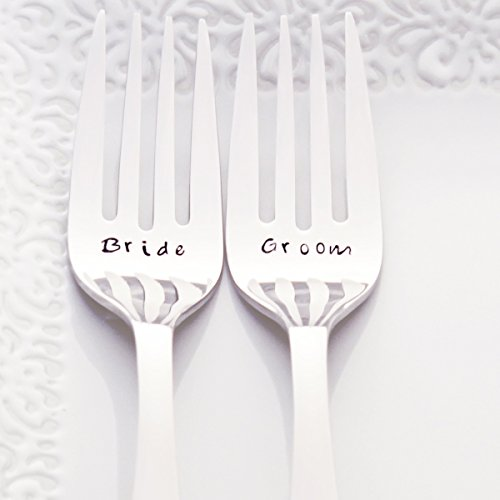 Bride/Groom - Fancy Handle Stainless Steel Stamped Fork Set, Stamped Wedding Silverware for Wedding Cake