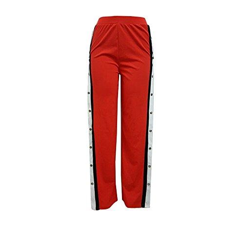 TWIFER Damen Knöpfe Hohe Taille Elegante Lange Hosen Bleistift Hose (S-5XL) (M, Rot)