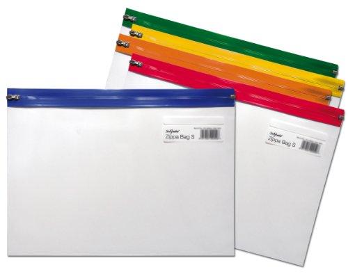Snopake - Cartelline porta documenti Zippa Bag 'S', A4 Plus con chiusura lampo, trasparente con zip in colori diversi, 5 pz., trasparente/assortito