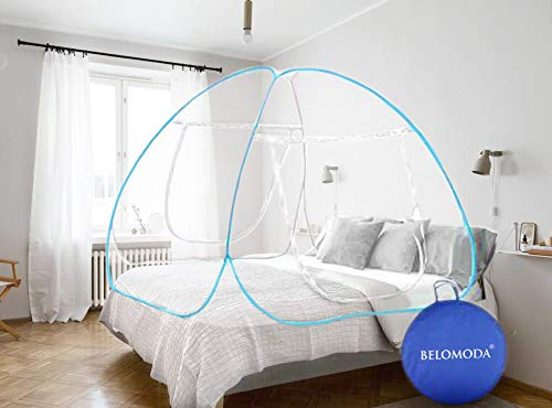 Belomoda Blue Mosquito Net Double Bed Nets for Size King Foldable Child Mosquitoes with Adults Maskito Net Mosquito/Machhardani with Free Saviours (200 * 200 * 145 cm) (Blue)