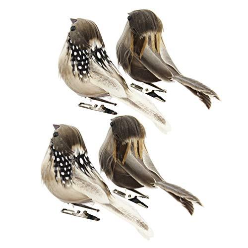 NUOBESTY 4 Piezas de Espuma Artificial de Plumas de Aves Simulación Vívidas Plumas de Aves Accesorios con Clip Espuma Pájaros Adornos de Decoración para Decoración / Color Aleatorio