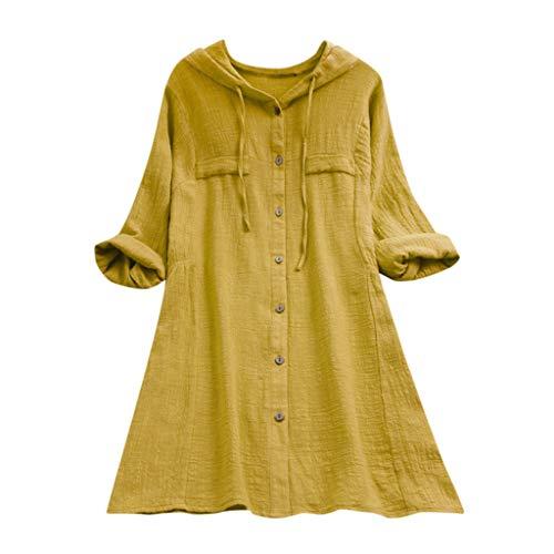 VEMOW Sommer Herbst Elegante Damen Plus Größe Dot Print Lose Baumwolle Casual Täglichen Party Strandurlaub Kurzarm Shirt Vintage Bluse Pulli(Y3-Gelb, 44 DE / 2XL CN)