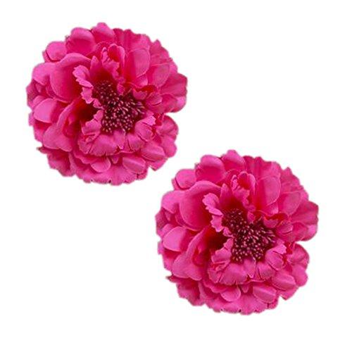 Décoration élégante de cheveux de clip de cheveux de fleur 2PCS pour les dames, Rose Rouge