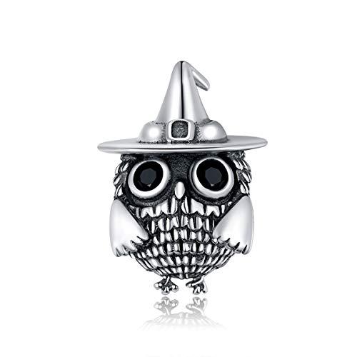 BAMOER Abalorio de búho mágico de plata de ley 925 con diseño de animales para pulsera