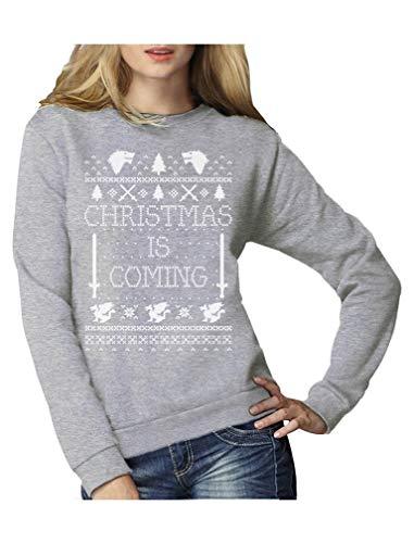 Christmas is Coming - Weihnachtspullover Damen für GOT Fans Frauen Sweatshirt Small Grau